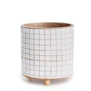 Cachepot em cimento e madeira branco 16 cm