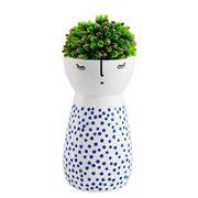 Vaso em cerâmica branco com azul I 15,5 cm