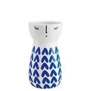 Vaso em cerâmica branco com azul II 15,5 cm