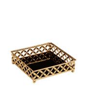 Bandeja em metal quadrada dourada 17x05 cm