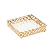 Bandeja em metal quadrada Dourada 21x05 cm