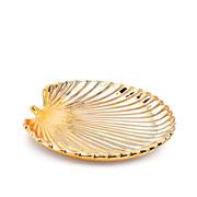 Folha em cerâmica dourado 20 cm