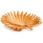 Enfeite em poliresina Folha dourado 29x28 cm