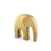 Escultura em cerâmica elefante dourado 15x16 cm