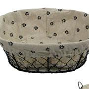 Cesto oval de metal forrado com tecido sortido 29x21 cm