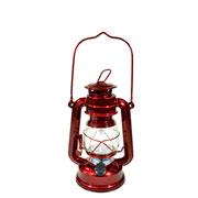 Lampião vermelho c/ luz led cor quente 19,5 cm