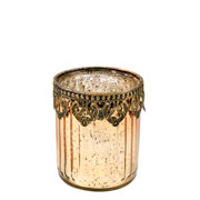 Castiçal de vidro e Zamac dourado 9x8 cm