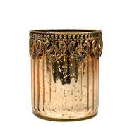 Castiçal de vidro e Zamac dourado 11x9,5 cm