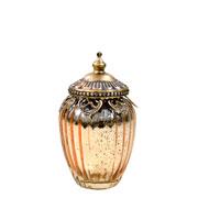 Potiche de vidro e Zamac com tampa dourada 14x8 cm