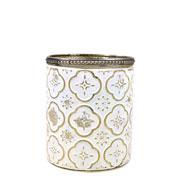 Castiçal de vidro branco e dourado 11,5x9,5 cm