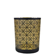 Castiçal em vidro preto e dourado 12x9 cm