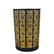 Castiçal em vidro preto e dourado 17,5x12 cm