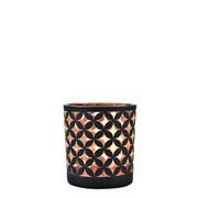 Castiçal em vidro preto e cobre 7,5x7 cm