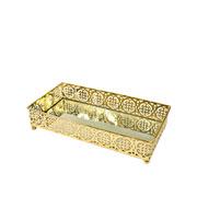 Bandeja dourada em metal com espelho 23x12,5X5 cm