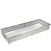 Bandeja prata em metal com espelho 34x12,5X5 cm
