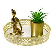 Bandeja metal dourado Flower espelhada 24x5 cm