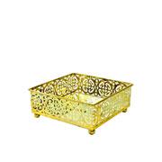 Bandeja dourada em metal com espelho 12,5x12,5x5 cm