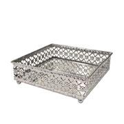 Bandeja prata em metal com espelho 15,5x15,5x5 cm