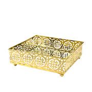 Bandeja dourada em metal com espelho 15,5X15,5X5 CM