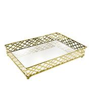 Bandeja metal dourada squares espelhada 27x19x05 cm