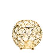 Castiçal de metal cristal dourado 10x10 cm