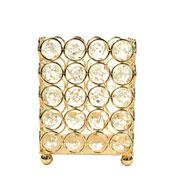 Castiçal de metal cristal dourado 9x9x12 cm
