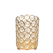 Castiçal de metal cristal dourado 8,5x12,5 cm