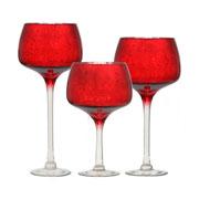 Jogo de candelabros de vidro Vermelho 03 peças
