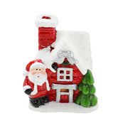 Enfeite casa de natal papai noel com luz 07x09 cm