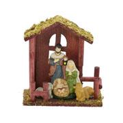 Sagrada familia com estabulo de madeira 18x19 cm